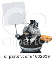 3d Business Zebra Holding A Hot Dog On A White Background