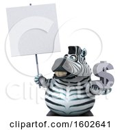 3d Zebra Holding A Dollar Sign On A White Background