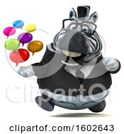3d Business Zebra Holding Messages On A White Background