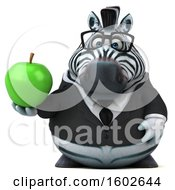 3d Business Zebra Holding An Apple On A White Background