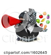 3d Business Zebra Holding Produce On A White Background