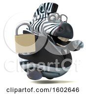 3d Business Zebra Holding A Padlock On A White Background
