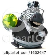 3d Business Zebra Holding A Globe On A White Background