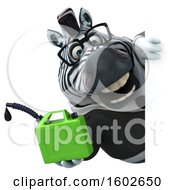 3d Business Zebra Holding A Gas Can On A White Background