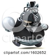 3d Business Zebra Holding A Golf Ball On A White Background