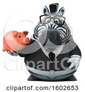 3d Business Zebra Holding A Piggy Bank On A White Background