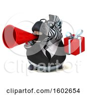 3d Business Zebra Holding A Gift On A White Background