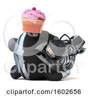 3d Business Zebra Holding A Cupcake On A White Background