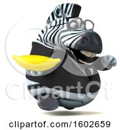 Clipart Of A 3d Business Zebra Holding A Banana On A White Background Royalty Free Illustration