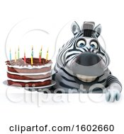 3d Zebra Holding A Birthday Cake On A White Background