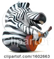3d Zebra Holding A Guitar On A White Background