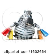 3d Zebra Carrying Shopping Bags On A White Background