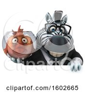 3d Business Zebra Holding A Fish Bowl On A White Background