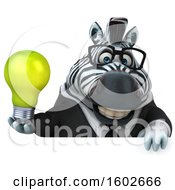 3d Business Zebra Holding A Light Bulb On A White Background