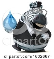 3d Business Zebra Holding A Water Drop On A White Background