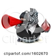 Clipart Of A 3d Business Zebra Holding A Blood Drop On A White Background Royalty Free Illustration