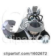 Clipart Of A 3d Business Zebra Holding A Euro On A White Background Royalty Free Illustration