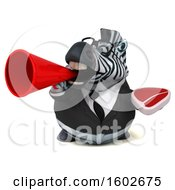3d Business Zebra Holding A Steak On A White Background