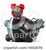3d Business Zebra Holding An Alarm Clock On A White Background