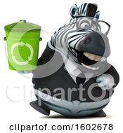 3d Business Zebra Holding A Recycle Bin On A White Background