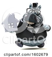 Clipart Of A 3d Business Zebra Holding A House On A White Background Royalty Free Illustration