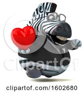 3d Business Zebra Holding A Heart On A White Background