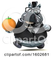3d Business Zebra Holding An Orange On A White Background
