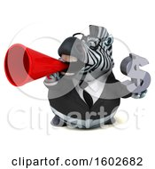 3d Business Zebra Holding A Dollar Sign On A White Background
