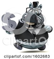 Clipart Of A 3d Business Zebra Holding A Dollar Sign On A White Background Royalty Free Illustration