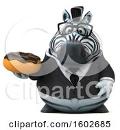 Clipart Of A 3d Business Zebra Holding A Donut On A White Background Royalty Free Illustration