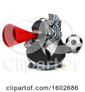 Clipart Of A 3d Business Zebra Holding A Soccer Ball On A White Background Royalty Free Illustration