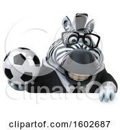 Clipart Of A 3d Business Zebra Holding A Soccer Ball On A White Background Royalty Free Illustration by Julos