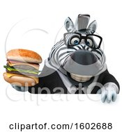 Clipart Of A 3d Business Zebra Holding A Burger On A White Background Royalty Free Illustration by Julos