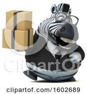 Clipart Of A 3d Business Zebra Holding Boxes On A White Background Royalty Free Illustration