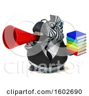 Clipart Of A 3d Business Zebra Holding Books On A White Background Royalty Free Illustration