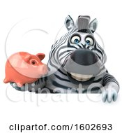 3d Zebra Holding A Piggy Bank On A White Background