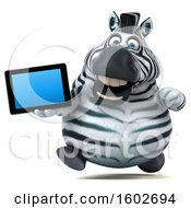 Clipart Of A 3d Zebra Holding A Tablet On A White Background Royalty Free Illustration by Julos