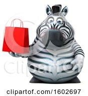 Clipart Of A 3d Zebra Holding A Shopping Bag On A White Background Royalty Free Illustration by Julos