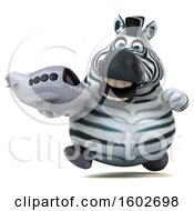 Poster, Art Print Of 3d Zebra Holding A Plane On A White Background