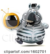 Clipart Of A 3d Zebra Holding A Tv On A White Background Royalty Free Illustration by Julos