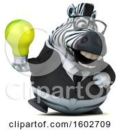 Clipart Of A 3d Business Zebra Holding A Light Bulb On A White Background Royalty Free Illustration by Julos
