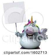 Poster, Art Print Of 3d Chubby Unicorn Holding A Euro On A White Background