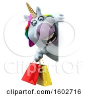 3d Chubby Unicorn Holding Shopping Bags On A White Background