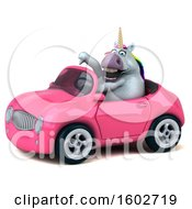 Poster, Art Print Of 3d Chubby Unicorn Driving A Convertible On A White Background