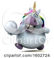 3d Chubby Unicorn Holding A Golf Ball On A White Background