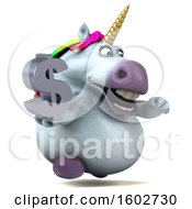 Poster, Art Print Of 3d Chubby Unicorn Holding A Dollar Sign On A White Background