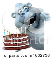 Clipart Of A 3d White Monkey Yeti Holding A Birthday Cake On A White Background Royalty Free Illustration