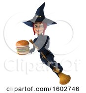 Poster, Art Print Of 3d Sexy Blue Witch Holding A Burger On A White Background