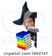 Clipart Of A 3d Sexy Blue Witch Holding Books On A White Background Royalty Free Illustration by Julos