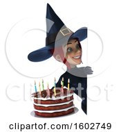 Poster, Art Print Of 3d Sexy Blue Witch Holding A Birthday Cake On A White Background
